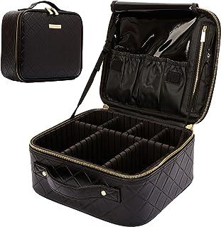ROWNYEON Makeup Travel Case Rhomboid Makeup Bag Organizer Rhombus Professional Portable Makeup Train Case for Cosmetics Ma...