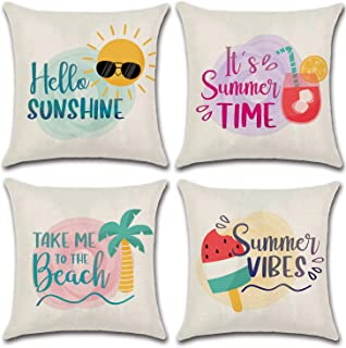 JOJUSIS Summer Throw Pillow Covers Decorative Pillowcases 20x20 Inch Set of 4 Ice Cream Beach Sunshine