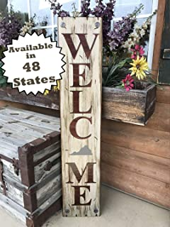 VIRGINIA State SIGN Vertical *FARM, HOME, LAKE, or WELCOME *Rustic Distressed Wood *Antique Red White or River Rock Blue Gray *LARGE XL *Inside *Outside *Exterior *Entryway, Porch, By Front Door VA