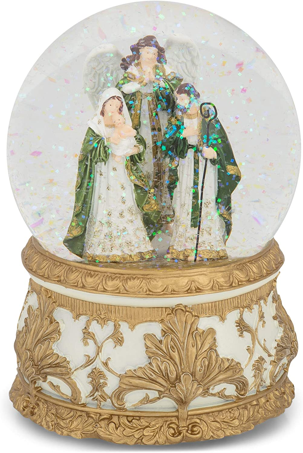 Roman Max 59% Max 51% OFF OFF 133700 Musical Holy Family Green Glitterdome Windup Gold