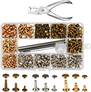 300 Sets 3 Sizes Leather Rivets LANMOK Double Cap Rivet Buttons Press Studs with Pliers and 3 Pieces Fixing Set Tools for Rivets Replacement DIY Craft Repairing Decoration