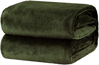 Bedsure Fleece Blanket Queen Size Olive Green Lightweight Super Soft Cozy Luxury Bed Blanket Microfiber