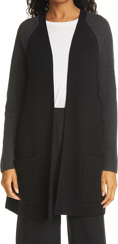 Eileen Fisher Black/Charcoal Extra Fine Merino Wool Raglan Cardigan Size XL MSRP $348