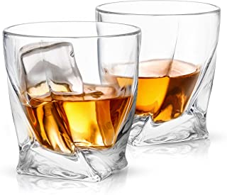 JoyJolt Atlas Crystal Whiskey Glasses, Old Fashioned Whiskey Glass 10.8 Ounce, Ultra Clear Crystal Scotch Glass for Bourbon and Liquor Set Of 2 non-leaded crystal Glassware