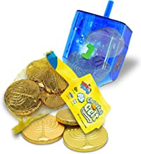 Hanukkah Gelt Coins Chocolate - Kosher Milk Chocolate Coins - Dreidel Filled with Menora Embossed Hanukkah Gelt Coins - Co...