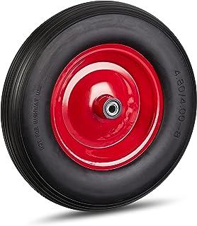 Relaxdays Kruiwagenwiel 4.80 4.00-8, massief rubberen wiel en stalen velg, 3 adapters, reservewiel lekvrij, 100 kg, zwart-...
