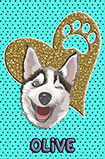 Husky Life Olive: College Ruled | Composition Book | Diary | Lined Journal | Blue