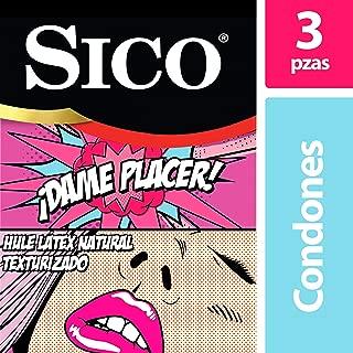 Condones de Látex Texturizados, Sico Play Dame Placer, Cartera de 3 Piezas