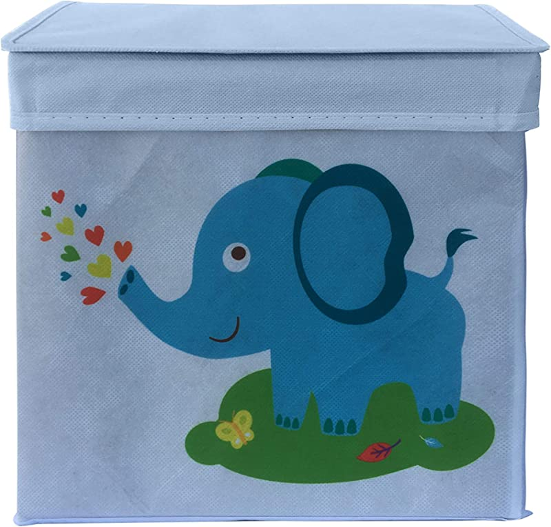 Rlan Canvas Toy Storage Bins For Children Foldable Toy Organizer Box Basket For Stuffed Animals Books Clothes For Nursery Bedroom Playroom