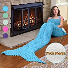 Catalonia Mermaid Tail Sherpa Blanket,Super Soft Warm Comfy Sherpa Lined Knit Mermaids with Non-Slip Neck Strap, for Girls Women Adults Teens Birthday Blue