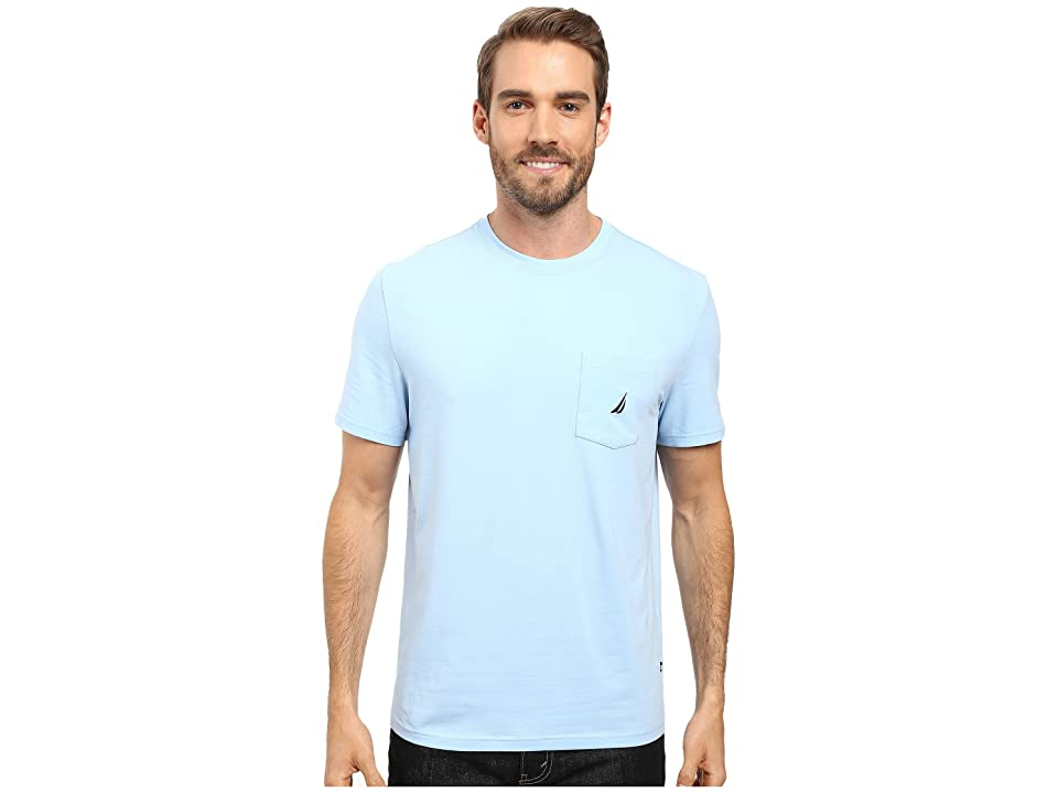 Nautica Short Sleeve Solid Anchor Pocket Tee (Noon Blue) Men