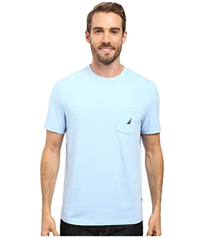 Nautica Short Sleeve Solid Anchor Pocket Tee (Noon Blue) Men