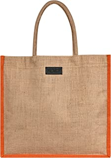 PROMISE Eco-Friendly Jute Bag, Plain Tiffin/Shopping/Grocery Hand Bag With Handle for Men and Women