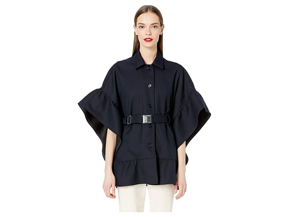 RED VALENTINO Tricotine Tech Belted Cape with Flounce (Navy) Women