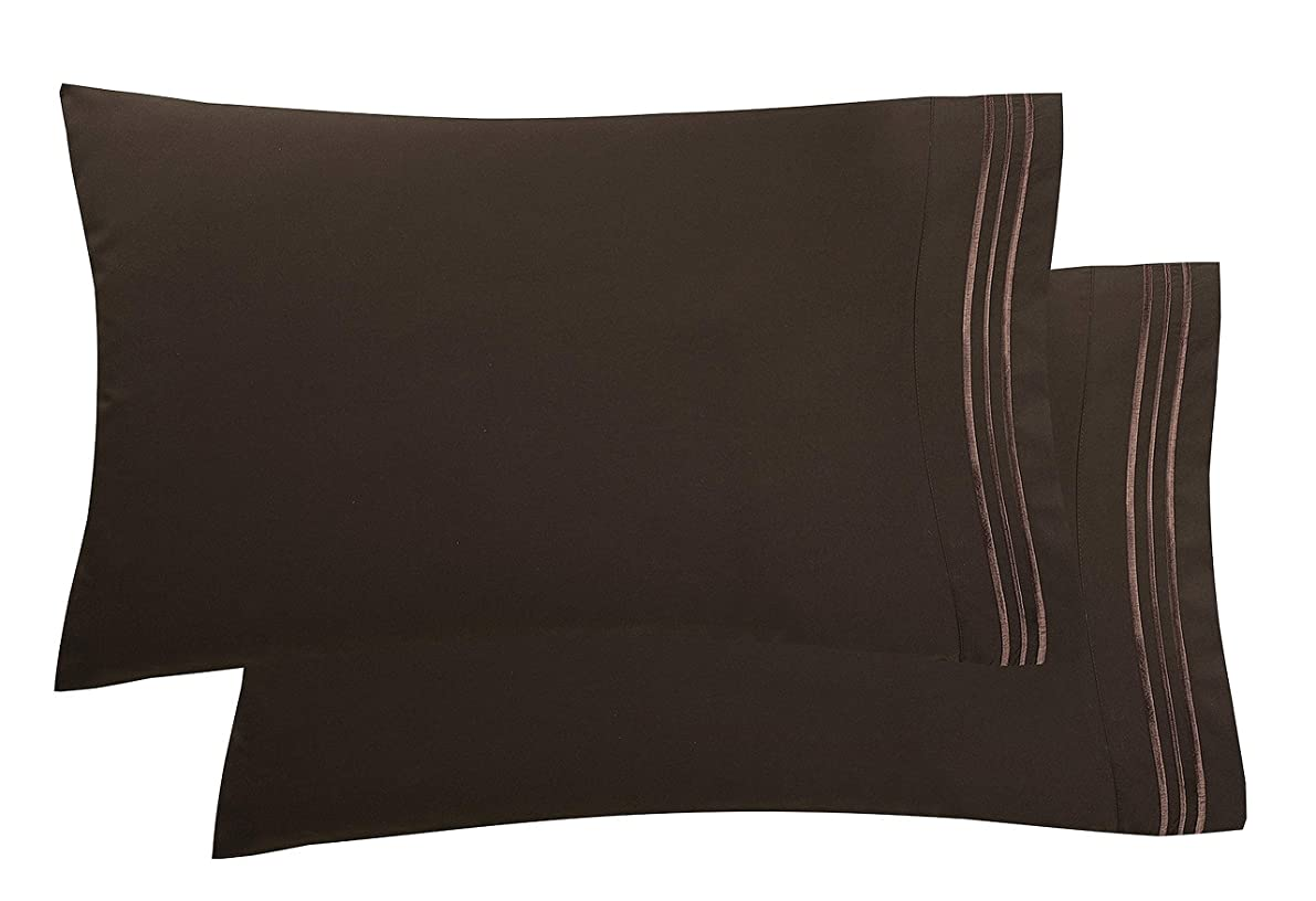 Elegant Comfort Luxury Ultra-Soft 2-Piece Pillowcase Set 1500 Thread Count Egyptian Quality Microfiber Double Brushed-100% Hypoallergenic-Wrinkle Resistant, Standard/Queen Size, Chocolate Brown