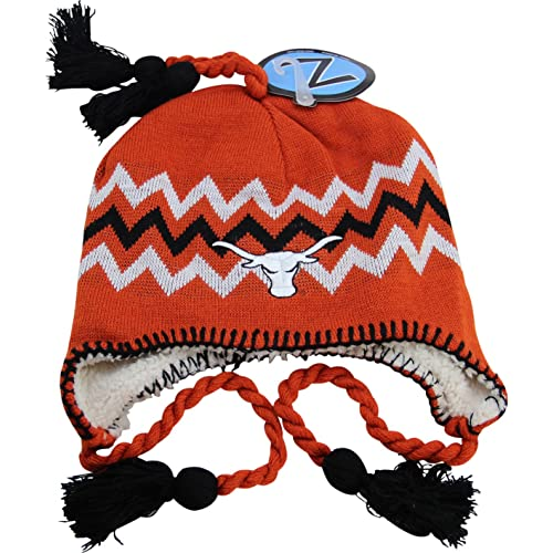 b2349732da3 NCAA Zephyr Texas Longhorns Fully Lined Knit Beanie Hat with Ear Flaps