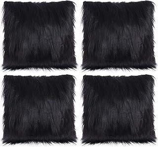 amazon com black fur pillows