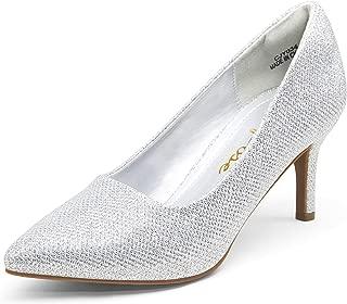 Women's Stiletto Low Heel Pumps Pointed Toe Slip on...