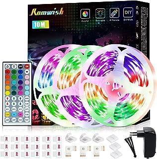 LED Ruban 15m,Romwish LED Chambre RGBW 5050 24V Multicolore Ambilight Bandeau De LEDs Alimentation Ruban Lumineux LED Kit ...