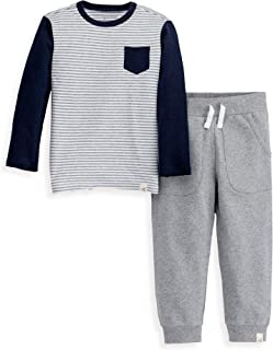 Boys Toddler Top and Pant Set, Tee and Joggers Outfit, 100% Organic Cotton