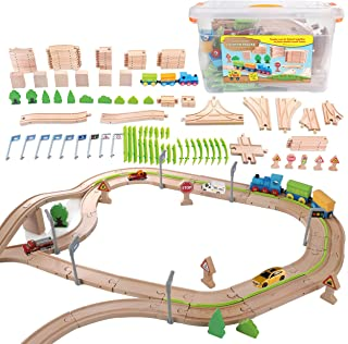 On Track USA Toy Train Set Wooden Track and Trains Fits Thomas, Chuggington, Building and Construction for Kids, 110 Pieces