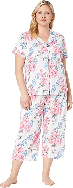 Plus Size Cosmopolitan Short Sleeve Girlfriend Capris PJ