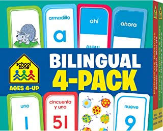 School Zone - Bilingual Spanish/English Flash Cards 4 Pack - Ages 4+, Preschool to Kindergarten, ESL, Language Immersion, ABCs, Sight Words, and More (Flash Card 4-pk) (English and Spanish Edition)