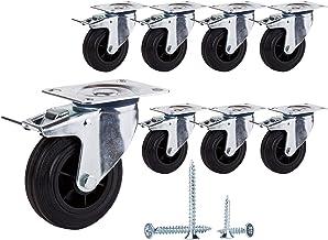 (Set van 8 stuks) Draaibare 100 mm zachte beweging Rubberen wielen Zwenkwielen met metalen platen Zwenkwielen Industriële ...