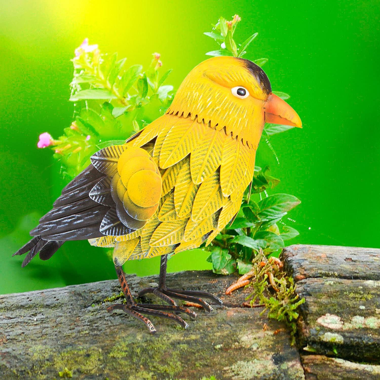 Goldfinch Metal Bird Garden Decor - Large Yellow Bird Decoration - Metal Yard Art for Garden, Porch - Handmade, Hand Painted Weatherproof Collectible w/ Unique Realistic Design