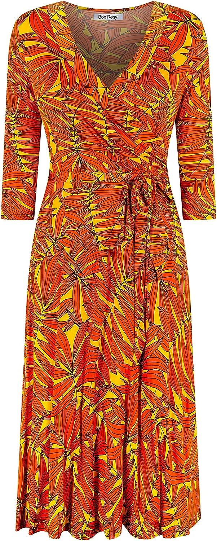 Bon Columbus Mall Rosy Women's #MadeInUSA 3 4 Dress Midi Sleeve Wrap Knee Faux Colorado Springs Mall