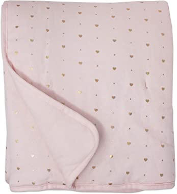 Living Textiles Baby Crib Bedding Quilted Comforter with Pink Metallic Hearts Premium 100% Cotton Fabric for Best Comfort   for Infant, Toddler, Newborn, Nursery, Unisex, Gift