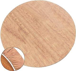 Rund bordsduk vaxfilt, PVC rund elastisk tvättbar bordsskydd för runda bord diameter 37–43 tum eller 111–113 cm