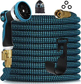 """Knoikos Expandable Garden Hose 50ft - Expanding Water Hose with 10 Function Nozzle /Durable 3750D /3/4"""" Solid Fitting Conn..."""