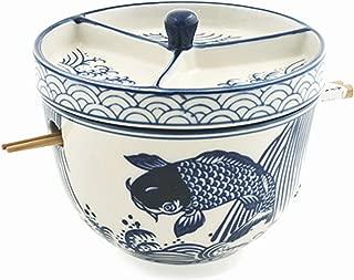 Happy Sales HSRB-CDMCOI3, Multi Purpose Japanese Design Ceramic Ramen Udong Soba Tempura Noodle Pho Donburi Rice Tayo Bowl with Chopsticks and Condiment Lid 6