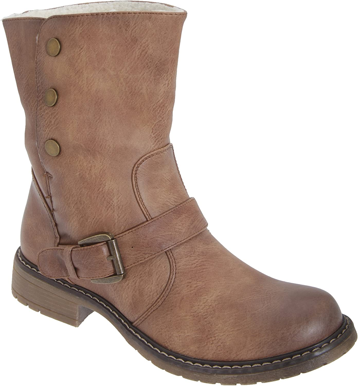 Cats Eyes Womens Ladies Fold Down Biker Style Ankle Boots