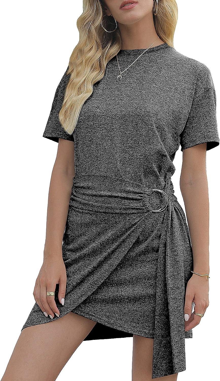 KevaMolly Women T Shirt Dress Short Sleeve Crew Neck Tie Waist Ruched Mini Casual Dresses
