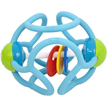 ボリィラトル はじめてボール 歯がためラトル にぎって かじって ひっぱって 安心素材 スカイブルー