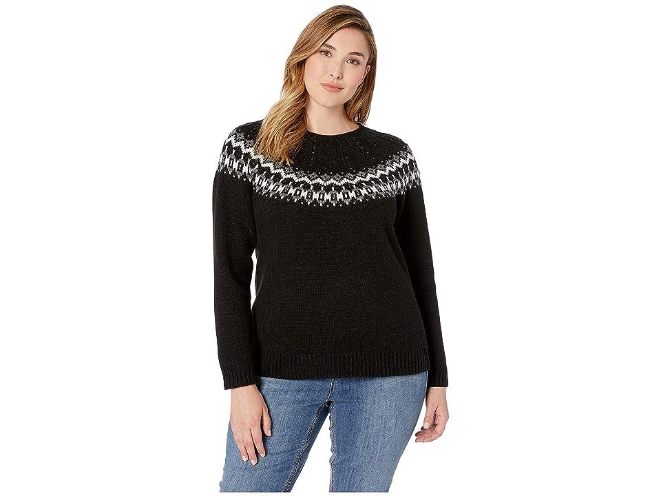 LAUREN Ralph Lauren Plus Size Wool-Blend Sweater (Polo Black Multi) Women