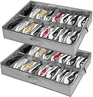 Organizador Zapatos debajo Cama 2 Pcs, para 32 Pares de Zapatos, Almacenaje Zapatos bajo Cama y Organizar Zapatos para Par...