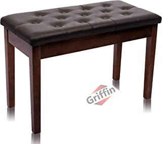 GRIFFIN Brown Wood PU Leather Piano Bench | Double Vintage D