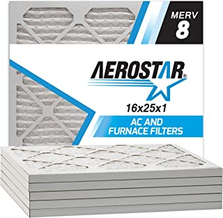 Aerostar 16x25x1 MERV 8 Pleated Air Filter, Made in the USA, 6-Pack