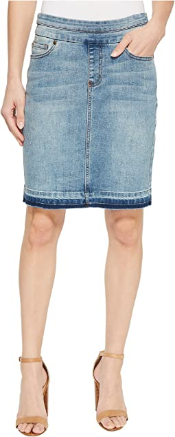 "Tribal 19"" Denim Pull-On Skirt with Raw Edge in Vintage"