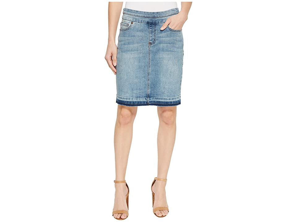 Tribal 19 Denim Pull-On Skirt with Raw Edge in Vintage (Vintage) Women