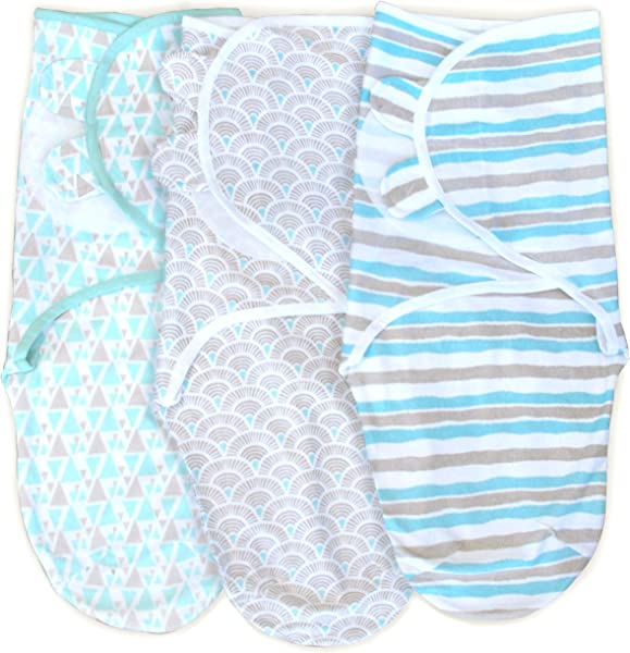 3 Pack Organic Cotton Adjustable Infant Swaddle Wrap For Safe And Sound Sleep Self Fastening Ages 0 3 Months Aqua Gray