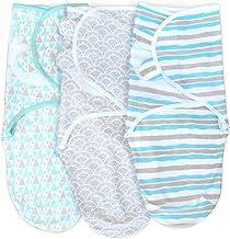 Cambria Baby 100% Organic Cotton Adjustable Swaddle Wrap for Newborns 0-3 Mo (Aqua Gray 3 Pk)