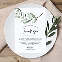 Bliss Collections Wedding Reception Thank You Cards - Pack of 50 Greenery Cards - Great Addition to Your Table Centerpiece, Place Setting and Wedding Decorations, Each Card is 4x6 and Made in The USA