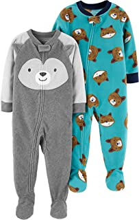 Carter's Boys' Toddler 2-Pack Loose Fit Fleece Footed Pajamas