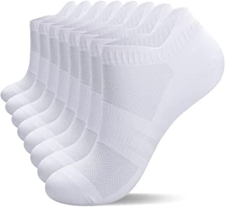 anqier 8 Pairs Running Socks Anti Blister Trainer Socks Sports Socks Ankle Socks for Men Women Ladies Cotton Low Cut Athle...