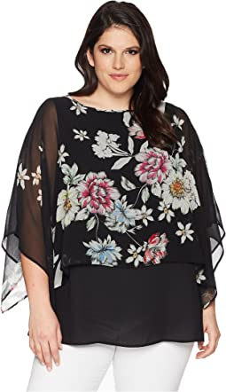 Plus Size Sheer Overlay Top