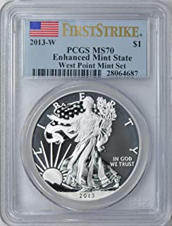2013 Various Mint Marks Silver Eagle 2013-W $1 Silver Eagle First Strike West Point Mint Set. Reverse Proof & Enhanced Finish PCGS MS-70/Proof-70 (Flag First Strike Labels) (2 Coins) PR-70